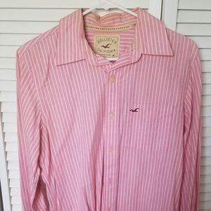 Hollister pink striped long sleeve button up dress